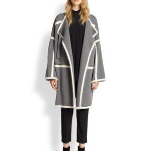 Chloe Angora-paneled wool blanket coat sz m grey